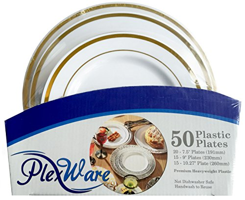 50 Piece Premium Disposable Plastic Plates, Heavyweight Plastic Dinnerware includes 20 - 7.5