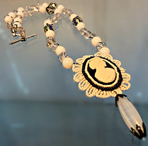 Black and White Necklace Vintage Cameo, Crystals and Glass Opalescent Beads, 38.9 Grams, 22