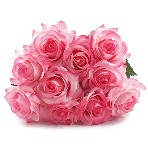 IPOPU 10 Pcs Romantic Real Touch Artificial False Latex Silk Blooming Roses Bouquet Floral Leaf for Home Wedding Party Garden Bridal Hydrangea Decorations DIY (Light Pink Rose)