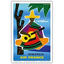 Mexico - France - Mexican Guitar Player in Sombrero and Pancho - Vintage Airline Travel Poster by Guy Georget c.1963 - Master Art Print - 12in x 18in