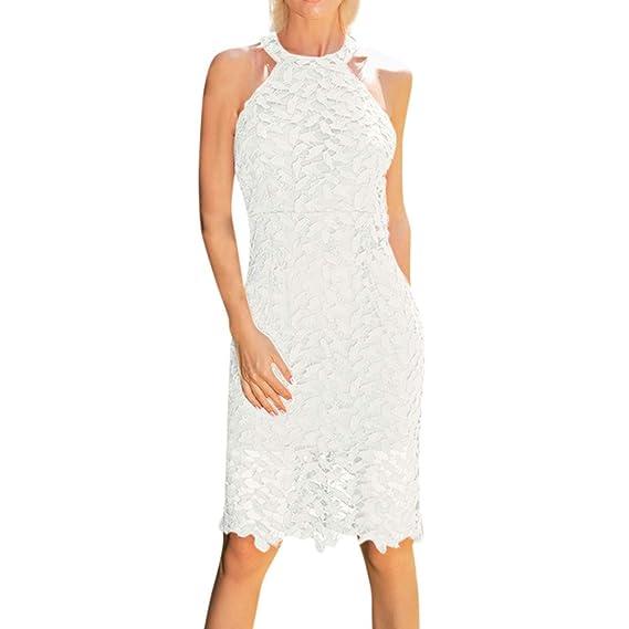Yusealia Abito da Donna Estate Vestiti Donna Elegante Vestiti Lunghi Donna  Estivi Spalla Collo Appeso 45b09855c8b