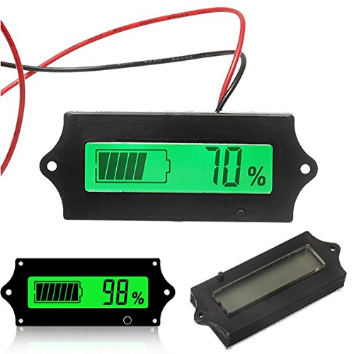 3pcs GY-6A Y6A 12V 24V 36V 48V Lead Acid Battery 2-15S Lithium Battery Universal Adjustable 6-63V Green Screen Waterproof LCD Capacity Display Board Indicator Digital Voltmeter With Switch -
