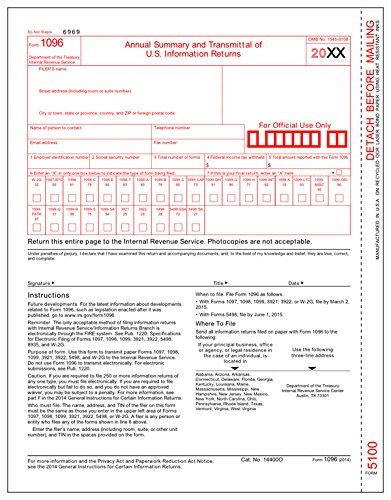 Irs Approved 1096 Laser Transmittal Summary Tax Form   25 Pack