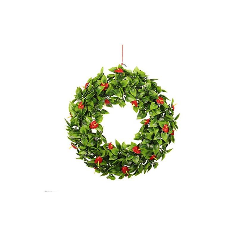 silk flower arrangements besportble chrismas door wreath merry christmas artificial hanging anthurium flowers garland decoration,40cm/16inch