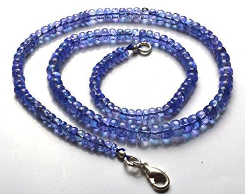 1Strang Natur 40,6cm Strand Super feinstem, Super Rare, Ultimate Qualität Tansanit Halskette Glatte Rondelle Perlen 4bis 6mm
