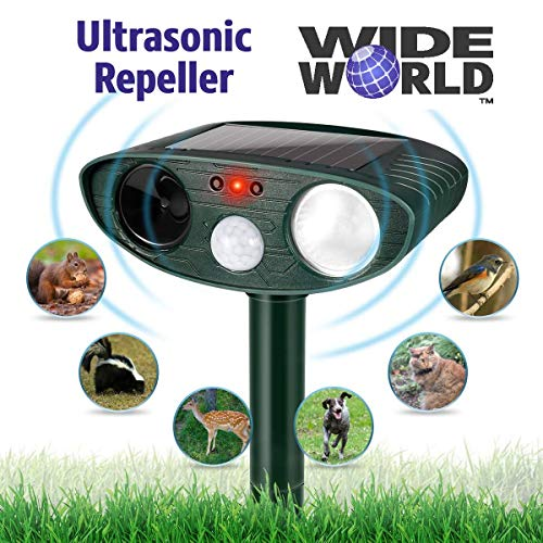 Ultrasonic Pest Repeller by Wide World - Solar Powered Waterproof Outdoor Wild Animal Repellent - Motion Sensor and Flashing Light for Deer Cat Dog Squirrel Mole Rat Fox Wolf Raccoon - Sound Control