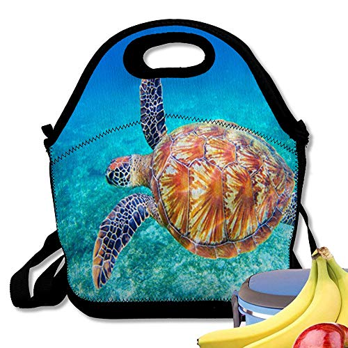 Insulated Neoprene Lunch Bag Sea Turtle Swims Water Big Green Closeup Wildlife of Tropical Coral Reef Tortoise Und Reusable Soft Lunch Tote for Work and School ()