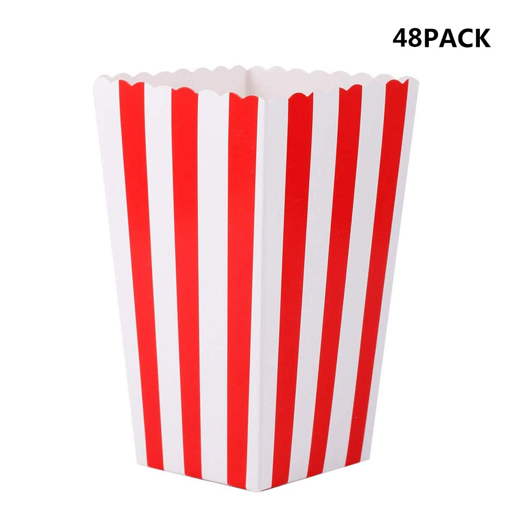 Gardome Popcorn Boxes - 48 Pcs Movie Theater Mini Paper Popcorn Boxes - Great for Movie Night, Carnival Party Decorations, Wedding or Birthday Favor Boxes by Gardome