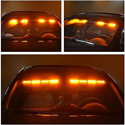 YITAMOTOR 17 2 x 15 LED 90W 26 Flash Patterns Split Strobe Visor Lights Interior Windshield Surface Mount Visor Lights With Universal Brackets Emergency Visor Lights