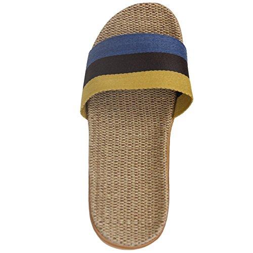 Slipper Blue Shoes Comfort House Men's Yellow Indoor Skidproof Home Toes Black Open Slippers Stripe 1afRqwR