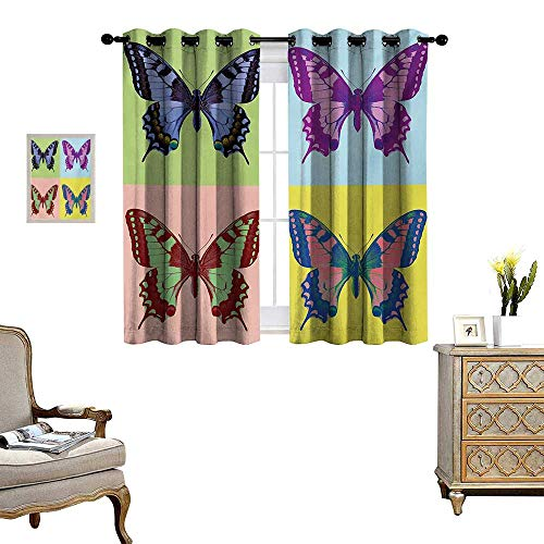 Butterfly Thermal Insulating Blackout Curtain Pop Art Swallowtail Pavilions Wild Life Transcendent Energies of Miraculous Wings Patterned Drape for Glass Door W63 x L72 Multicolor