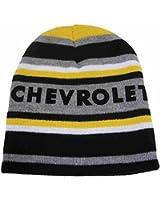 Chevrolet Mens Black & Gray Stripe Chevy Beanie Stocking Cap Winter Hat