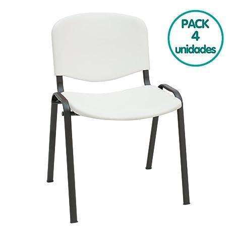 Silla confidente ISO apilables Ideal para Salas reuniones plástico Polipropileno (Pack 4 Unidades) (Blanco)
