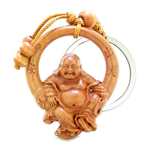Amulet Happy Laughing Buddha Swinging in Wheel of Fortune Feng Shui Symbols Keychain Blessing]()