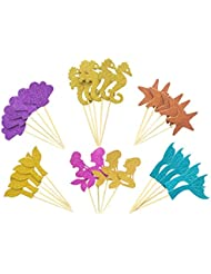 Mermaid Cupcake Topper Food Picks Party Picks Party Decor Supplies for Baby Shower Birthday, Include Mermaid, Seashell, Seahorse, Starfish, Set of 29