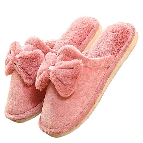 Pantofola Da Interno Bowknot Ciabatta Da Donna Antiscivolo Morbida Pantofola Interna Rosa Scuro