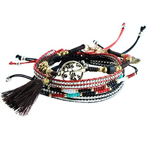 MHZ JEWELS 5Pcs Black Red Hamsa Tree of Life Charm Bracelet Set for Women Bead String Braided Tassel Bracelet ()