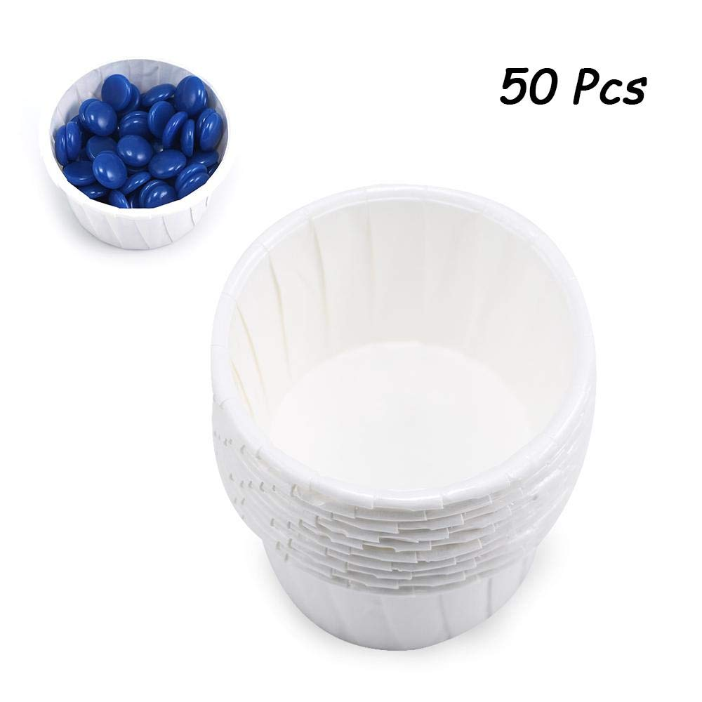 Disposable Paper Cups, Leegoal Food Grade Hair Removal Wax Bean Melting Bowl, Muffin Cake Baking Paper Tray, Pack of 50
