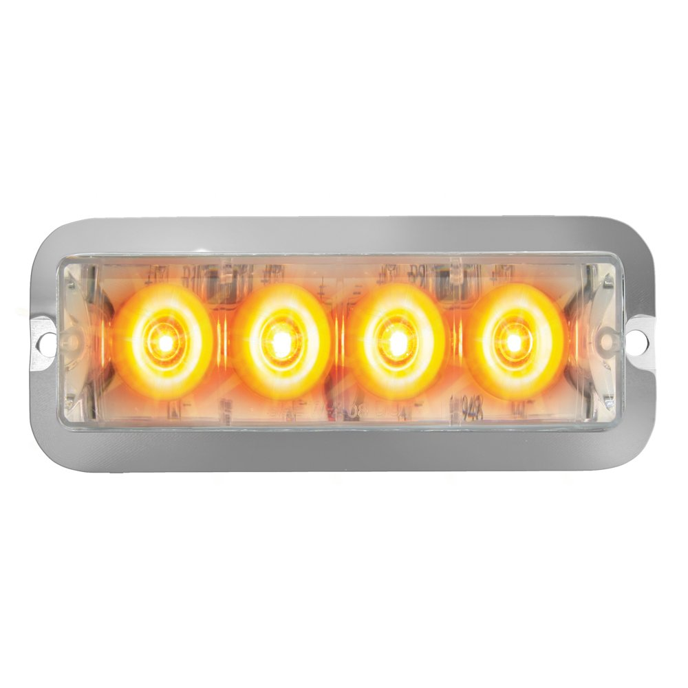 Grand General 76531 Amber Medium Rectangular 4 LED Strobe Light with Clear Lens by GG Grand General