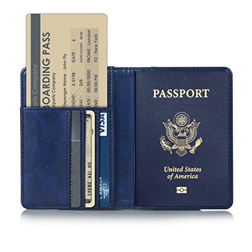TDA Travel Passport Holder Wallet Multi-Purpose RFID Blocking ID Cards PU Leather Case Cover (Dark Blue)
