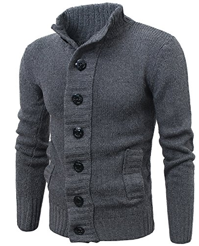 MIEDEON Button Point Stand Collar Knitted Slim Fit Cardigan Sweater (L, Grey1)