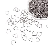 PandaHall Elite 400 Pieces Triangle Open Jump Rings Iron Pinch Clip Bail Hang Drops 18 Gauge for Jewelry Findings Platinum, 11x13mm