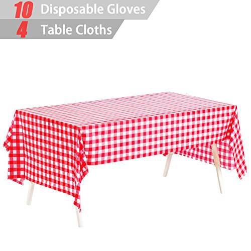 """Pack of 4, Picnic Table Covers, 54"""" x 72"""" Red and White Checkered Tablecloths Tablecovers Table Cloth Cover Party Catering Events Tableware Disposable Tablecloths +10 Pairs Plastic Disposable Gloves"""
