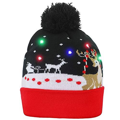 NEARTOP Christmas Reindeer Light up Flashing Beanie Hats for Christmas -