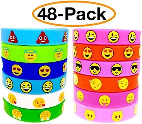 OHill 48 Pack Emoji Emoticons Silicone Wristbands Bracelets Kids Birthday Party Supplies Favors Prize Rewards, Kids Size