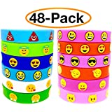 O'Hill 48 Pack Emoji Emoticons Silicone Wristbands Bracelets Kids Birthday Party Supplies Favors Prize Rewards, Kids Size