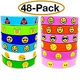 O'Hill 48 Pack Emoji Emoticons Silicone Wristbands Bracelets Kids Birthday Party Supplies Favors Prize Rewards, Kids Size