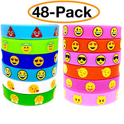 O'Hill 48 Pack Emoji Emoticons Silicone Wristbands Bracelets Kids Birthday Party Supplies Favors Prize Rewards, Kids Size (Neon Color Explosion)