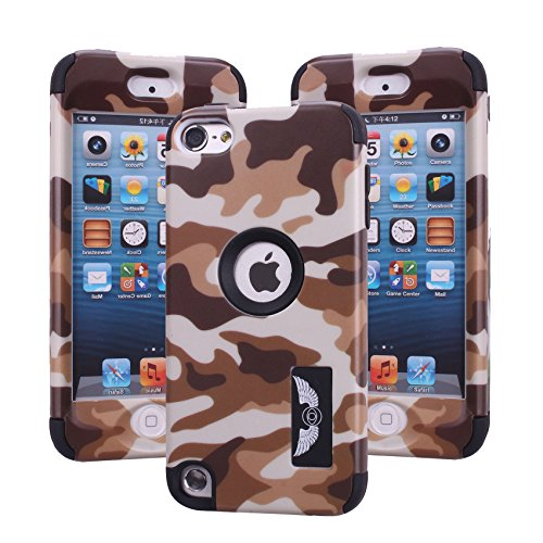 ipod touch 5th generation case, Harsel Dual Layer Hybrid Protective Case and Impact Resistant Case Drop Protecion Silicone Hard Cover for Apple iPod Touch 5th Generation - - Brown Ipod