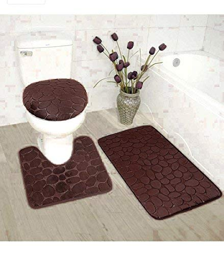 Luxury Home Collection 3 Piece Stone Embossed Solid Color Memory Foam Soft Bathroom Rug Set Non-Slip with Rubber Backing (Coffee) ()
