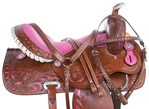 AceRugs Pleasure Trail Pink Cowgirl Crystal Show Barrel Racing Rodeo Western Leather Horse Saddle TACK Set Package (Pink, - Barrel Pink Saddle