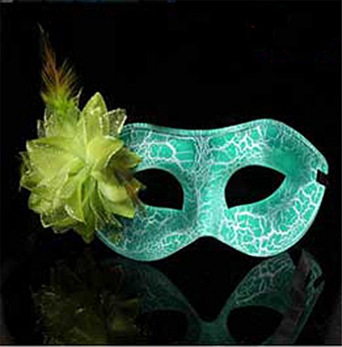 Face mask Shield Veil Guard Screen Domino False Front Halloween Party cos mask Makeup Dance Color Show mask Female Flat Cracked kadan Eye mask Green -