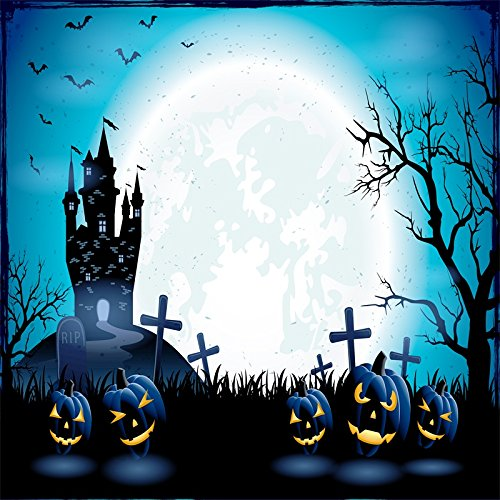 Yeele 6x6ft Halloween Backdrop Castle Scary Grimace Pumpkins Lantern Ghost Bat Gravestone Photography Background for Pictures Party Banner Decor Kid Portrait Photo Booth Shooting Studio Props
