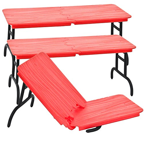 Set of 3 Red Break Away Tables for WWE Wrestling Action Figures by Figures Toy Company