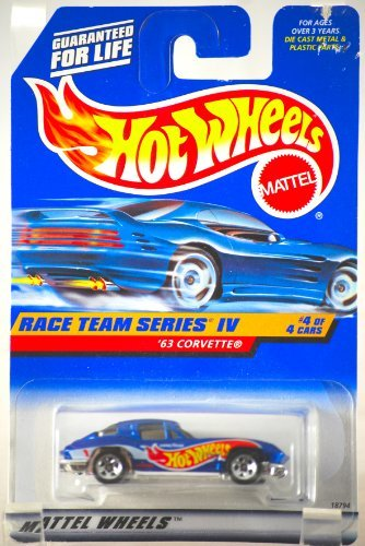 1963 Split Window - 1997 - Mattel - Hot Wheels - Race Team Series IV - 1963 Corvette Split Window - Blue - #4 of 4 Cars - 1:64 Scale Die Cast - Rare - MOC - Out of Production - Limited Edition - Collectible