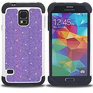 - purple yellow star abstract polka dot/ H??brido 3in1 Deluxe Impreso duro Soft Alto Impacto caja de la armadura Defender - SHIMIN CAO - For Samsung Galaxy S5 I9600 G9009 G9008V