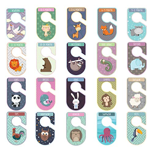 Baby Closet Dividers Set Pack of 20 Animal Themed Closet Organisers Arrange Clothes by Clothing Type Or Age Unisex Cardboard Hanger Rail by Live It Style It