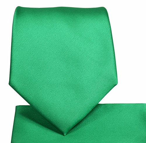 Oliver George Solid Necktie Set (emerald green) #1010-D Necktie Emerald Green