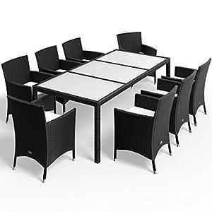 Deuba Salon de Jardin 17 pièces en polyrotin Noir – 8 Chaises empilables 1 Table avec Plateau en Verre – 8 Coussins…
