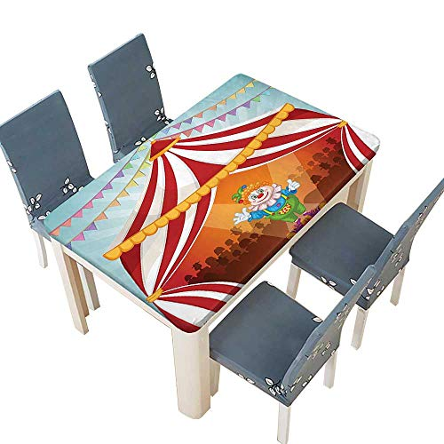 PINAFORE Polyester Fabric Tablecloth Collection Cartoon Clown in Circus Tent Cheerful Costume Funny Entertainer Joyful Design R Suitable for Home use W25.5 x L65 INCH (Elastic Edge) -