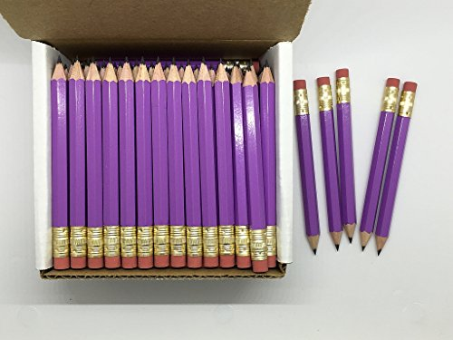 Half Pencils with Eraser - Golf, Classroom, Pew, Short, Mini, Small. Church, Non Toxic - Hexagon, Sharpened, 2 Pencil, Color - Lilac (purple), Box of 72 (1/2 Gross) Golf Pocket Pencils