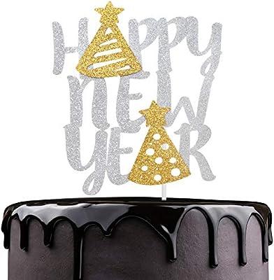Jewish New Year 2020 Happy New Year Cake Topper   Silver Glitter Cake Décor   Hello