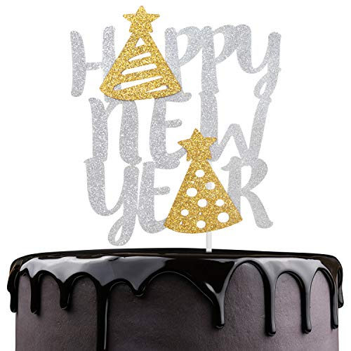 Cheers To 2020 Cake Topper - Hello 2020 Silver Glitter Stars Cake Décor - 2020 New Year's Eve - Merry Christmas - Winter Festive Holidays Party Decoration