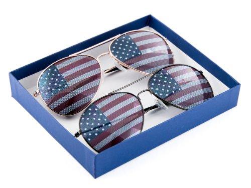 MJ Eyewear American Flag Aviator Sunglasses Glasses Gift Box (2 Pairs 1 Gold 1 Gunmetal, USA - Cop Sun Glasses
