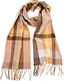 SilverHooks Soft & Warm Plaid Cashmere Scarf w/Gift Box (Cream, Yellow & Brown)