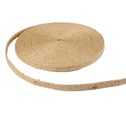 Jute Trim (Burlap Ribbon - 25-Yard Natural Jute Ribbon Roll, Burlap Spool with Twine Twisted Hemp Rope Strings for Arts and Crafts, DIY Wedding Decorations, 0.5 inches Wide)